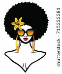 beautiful black woman with afro ... | Shutterstock . vector #715232281