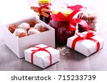 homemade edible christmas gifts ... | Shutterstock . vector #715233739