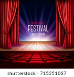 a theater stage with a red... | Shutterstock .eps vector #715251037