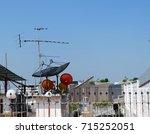 satellite dish antenna in the... | Shutterstock . vector #715252051