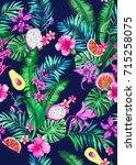 seamless hand painted graphical ... | Shutterstock . vector #715258075