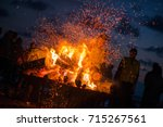 large burning bonfire with soft ... | Shutterstock . vector #715267561