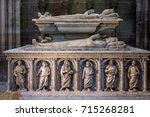 Small photo of Saint-Denis, France - July 02, 2017: Interior and details of the Basilica of Saint Denis. Medieval abbey, where the kings of France and their families were buried, is royal necropolis of France.