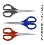 realistic scissors ser with... | Shutterstock .eps vector #715272211
