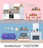 modern home interior  kitchen... | Shutterstock .eps vector #715273789