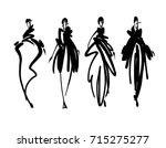 fashion models sketch hand... | Shutterstock .eps vector #715275277