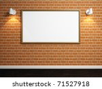 3d render of empty room with brick wall and lights - stock photo