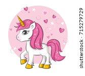 cute magical unicorn. vector... | Shutterstock .eps vector #715279729