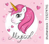 cute magical unicorn. vector... | Shutterstock .eps vector #715279741