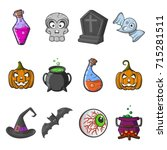 cartoon happy halloween set of... | Shutterstock .eps vector #715281511