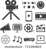 movie multimedia icons set ... | Shutterstock .eps vector #715284805
