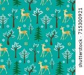 gold glitter deer pattern on...   Shutterstock .eps vector #715300921