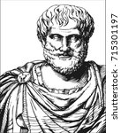 aristotle. vector black and...   Shutterstock .eps vector #715301197