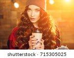 young beautiful modern... | Shutterstock . vector #715305025