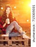 young beautiful modern... | Shutterstock . vector #715305031