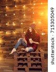 young beautiful modern... | Shutterstock . vector #715305049