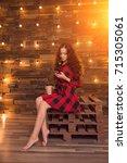 young beautiful modern... | Shutterstock . vector #715305061