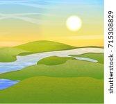 river in the valley between the ... | Shutterstock .eps vector #715308829