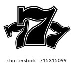triple lucky sevens black and...   Shutterstock .eps vector #715315099