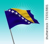 waving bosnia and herzegovina... | Shutterstock .eps vector #715315801