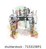 Watercolor Sketch Of Bull Cart...