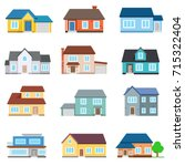 set of houses front view.... | Shutterstock .eps vector #715322404