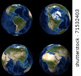 set of earths - stock photo