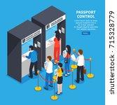 visa center interior with... | Shutterstock .eps vector #715328779
