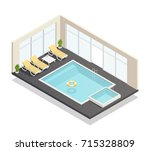 recreation indoor swimming pool ... | Shutterstock .eps vector #715328809