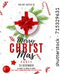 merry christmas party poster.... | Shutterstock .eps vector #715329631