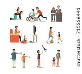flat icons set of father with... | Shutterstock . vector #715336441