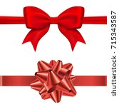 gift red bow tie and conical... | Shutterstock .eps vector #715343587