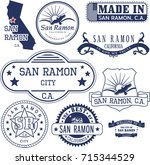 set of generic stamps and signs ... | Shutterstock .eps vector #715344529