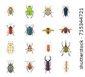 set of insects flat style... | Shutterstock . vector #715344721