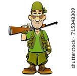 cartoon hunter. | Shutterstock .eps vector #715348309