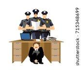 businessman scared under table... | Shutterstock .eps vector #715348699
