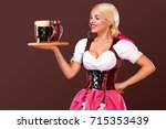 closeup portrait of oktoberfest ...   Shutterstock . vector #715353439