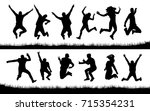 happy jumping people silhouettes | Shutterstock .eps vector #715354231