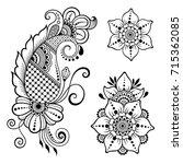 henna tattoo flower template.... | Shutterstock .eps vector #715362085