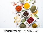 various spices in a bowls on... | Shutterstock . vector #715363261