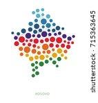 dotted texture kosovo vector... | Shutterstock .eps vector #715363645