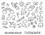 cute magic doodle vector symbols | Shutterstock .eps vector #715363654