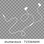 vector earphones with connector ... | Shutterstock .eps vector #715364644