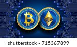 virtual symbols of the coin... | Shutterstock .eps vector #715367899