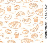 pattern of different bakery... | Shutterstock .eps vector #715373569
