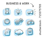 business icon set with file... | Shutterstock .eps vector #715375705
