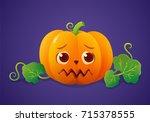 timid halloween pumpkin with... | Shutterstock .eps vector #715378555