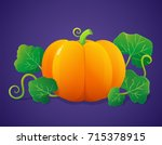 colorful pumpkin with leaves | Shutterstock .eps vector #715378915