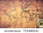 ancient map with compass. top... | Shutterstock . vector #715380241
