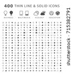 set of 400 minimal and solid... | Shutterstock .eps vector #715382791